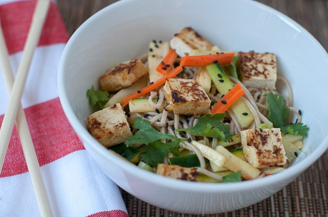 cold soba noodles with miso roasted tofu and summer vegetables