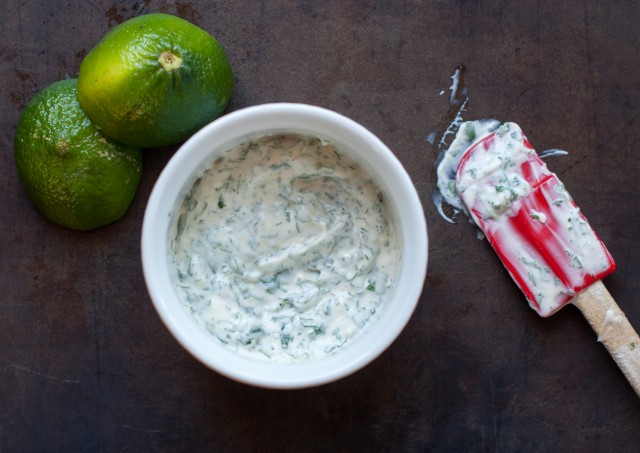 mixing together the cilantro-lime mayonnaise