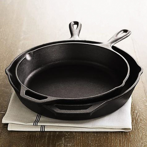 lodge cast iron skillets 10-inch and 12-inch