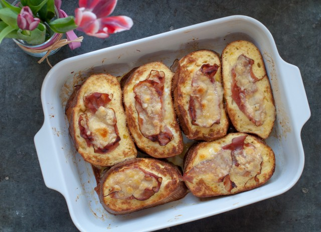 baked ham and gruyere stuffed french toast