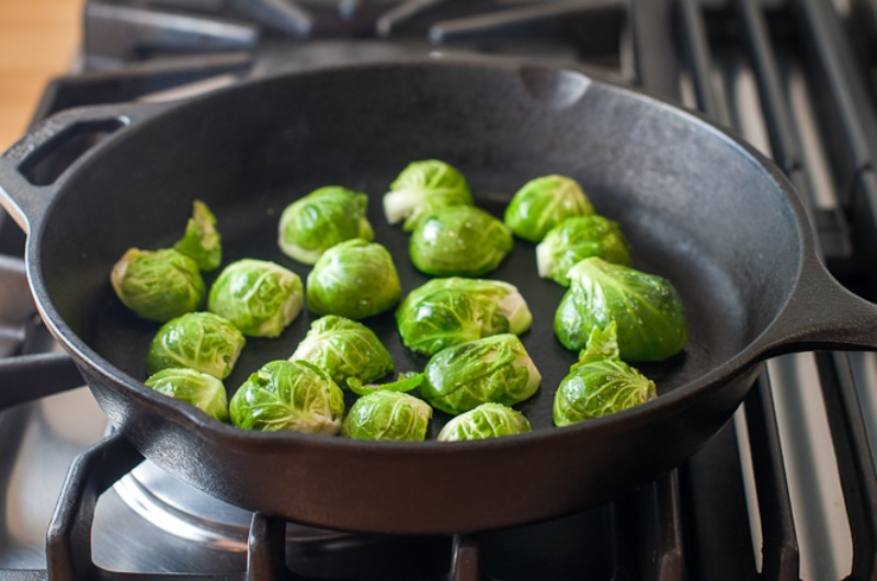 Brussels sprouts in the cast iron skillet