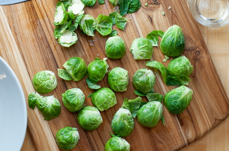Brussels sprouts sliced in half