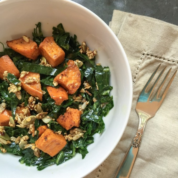 collard greens with roasted sweet potato