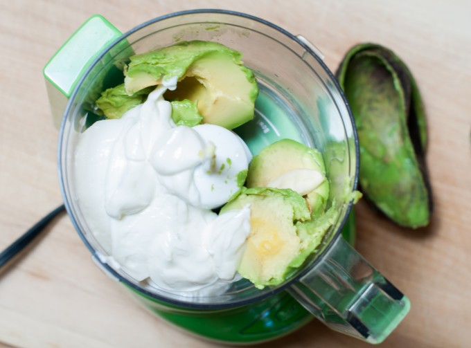 ingredients for avocado yogurt crema in food processor