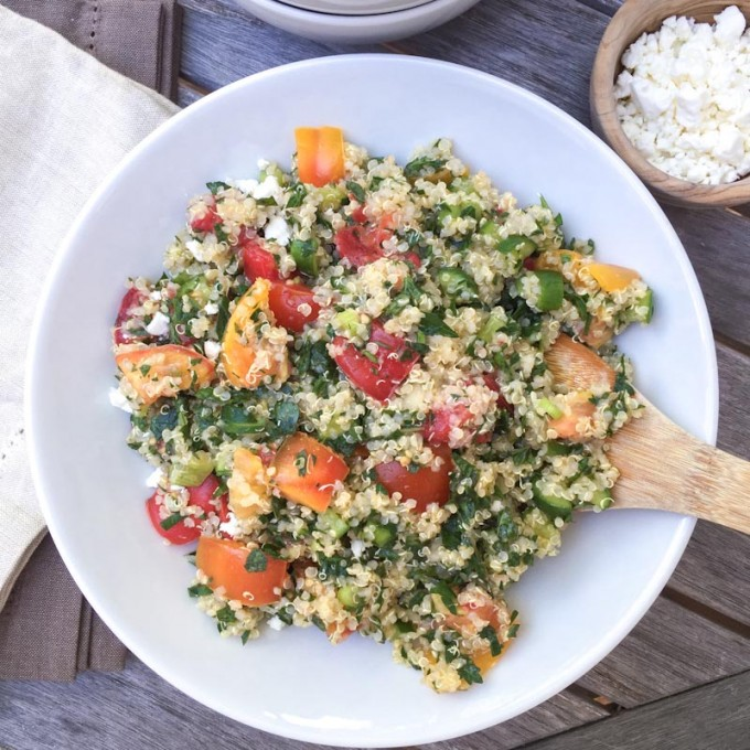 quinoa with tomatoes, cucumber, parsley and mint