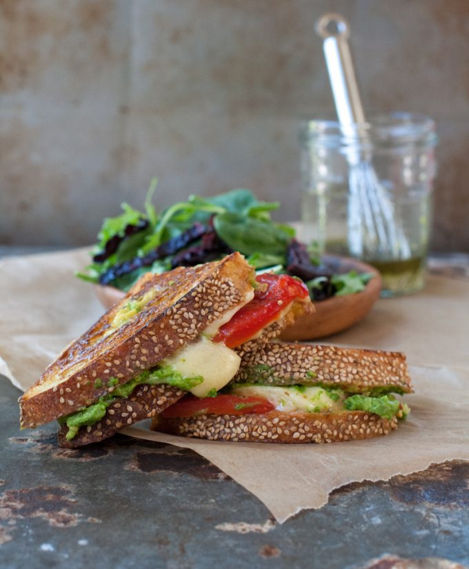 grilled cheese with roasted red pepper and avocado