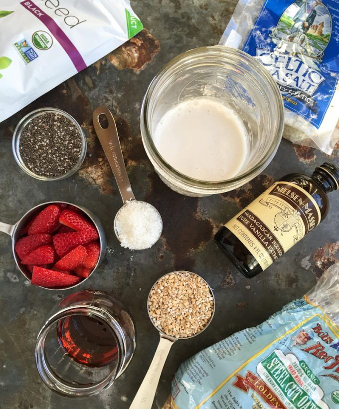 ingredients for overnight refrigerator steel cut oats with chia and strawberries_