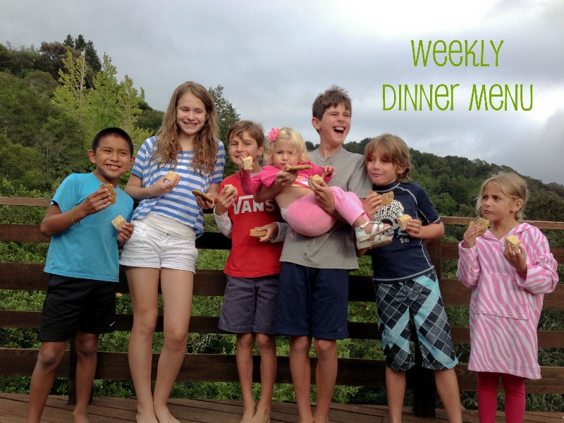 Marin mama's weekly dinner menu for July 21st
