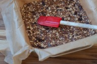 no-bake granola bars pressed into the pan