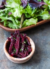 roasted matchstick beets with coocnut oil