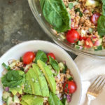 easy farro salad with tomatoes, cucumber, red onion and basil